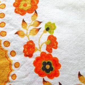 Vintage Mid Century Square Tablecloth